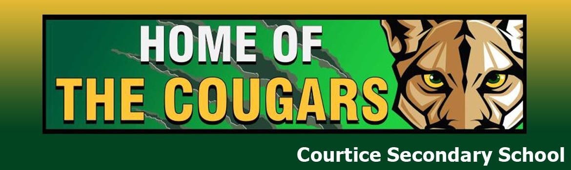 The words Home of the Courgars and a picture of the school logo